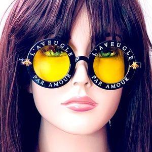 NEW Retro Yellow Round Sunglasses Black Frame